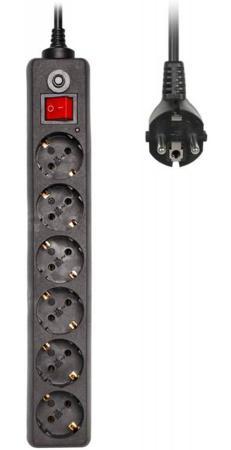 Сетевой фильтр BURO 600SH-3-B 6 розеток 3 м черный сетевой фильтр buro 600sh 5 b