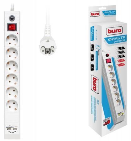 Сетевой фильтр BURO BU-SP5_USB_2A-W 6 розеток 5 м белый сетевой удлинитель buro bu ps5 5 w 5м 5 розеток белый