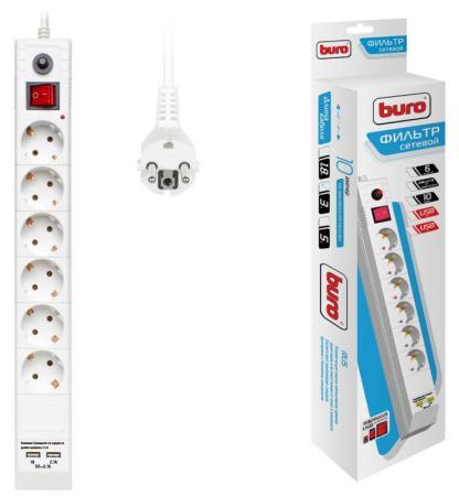 Сетевой фильтр BURO BU-SP3_USB_2A-W 6 розеток 3 м белый сетевой фильтр buro 600sh 3 b 6 розеток black