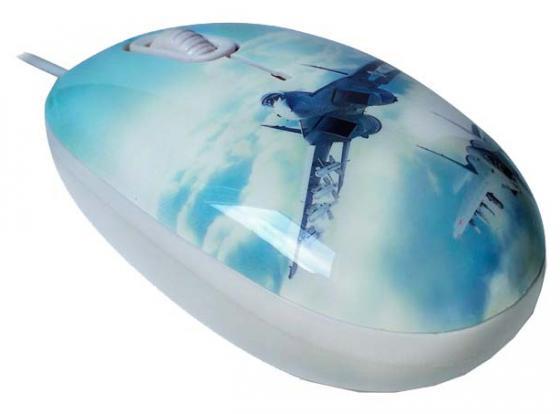 Мышь проводная CBR Aero Battle рисунок голубой USB + коврик мышь cbr aero battle коврик usb