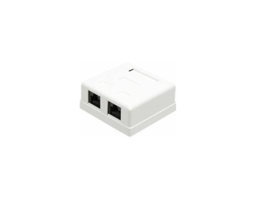 Розетка Lanmaster настенная 2 порта RJ-45 категории 5е UTP белый TWT-SM2-4545-WH розетка lanmaster телефонная настенная 1 порт 6p4c винтовая белый twt ss1 12 wh