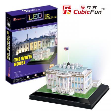 Пазл 3D 56 элементов CubicFun Белый дом с иллюминацией (США) L504h пазл 3d 110 элементов cubicfun прибрежная вилла 6944588206833