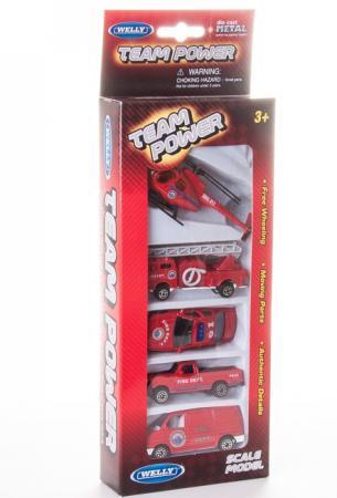 Игровой набор Welly Пожарная команда 5 шт красный 97506G(B) машины welly набор военно полицейская команда 5 шт