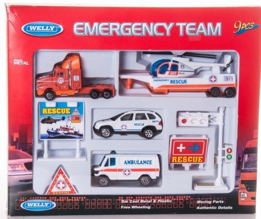 Набор Welly Служба спасения - скорая помощь 9 шт разноцветный 98630-9B welly welly набор служба спасения скорая помощь 4 штуки