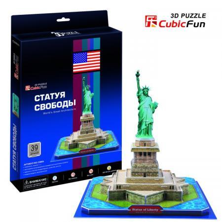Пазл 3D 39 элементов CubicFun 3D пазл Статуя Свободы (США) C080h 3d пазл expetro голова снежного барана blue 10634