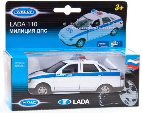 Автомобиль Welly LADA 110 Милиция ДПС 1:34-39 белый автомобиль welly nissan gtr 1 34 39 белый 43632