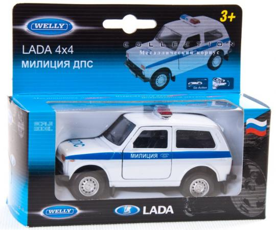Автомобиль Welly Lada 4x4 Милиция ДПС 1:34-39 белый 42386РВ welly lada 2108 1 34 39