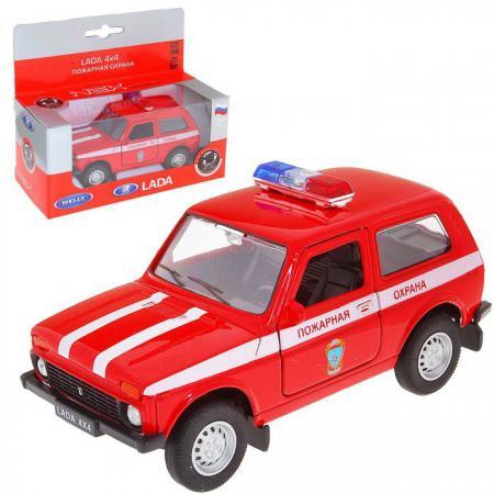 Автомобиль Welly LADA 4x4 Пожарная охрана 1:34-39 красный welly модель автомобиля lada vesta пожарная охрана
