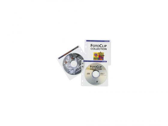 Конверты Hama для 2 CD/DVD с перфорацией портмоне кольцами белый/прозрачный 100шт H-62611