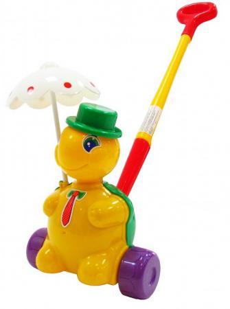 Каталка на палочке Полесье Черепашка Тортила пластик от 1 года с ручкой разноцветный 3637 каталка на палочке karolina toys карусель разноцветный от 1 года пластик 40 0033