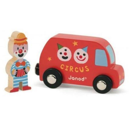 Набор Janod Фургон цирк с клоуном 08558 janod каталка на веревочке поезд цирк