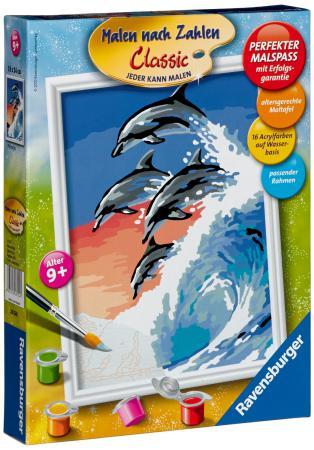 Набор для рисования Ravensburger Раскрашивание по номерам: Дельфины от 9 лет 28154 ravensburger ravensburger раскрашивание по номерам тигренок