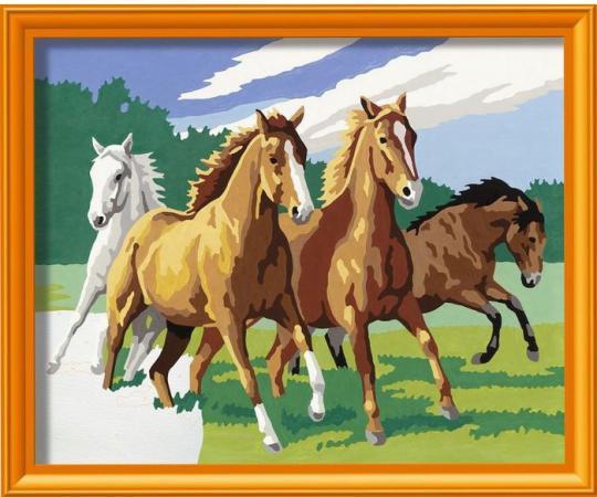 Набор для творчества Ravensburger Раскрашивание по номерам Дикие лошади от 9 лет 28374 наборы для рисования ravensburger набор для рисования раскрашивание по номерам дикие лошади