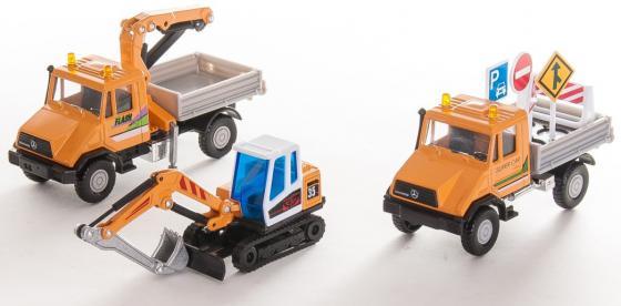 Игровой набор Welly Строительная техника 3 шт 10 см оранжевый 99610-3G(B) welly welly набор служба спасения пожарная команда 4 штуки