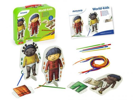 Фото - Настольная игра развивающие Miniland Со шнуровкой В мире детей 36033 miniland весы детские со съемным лотком scaly up miniland