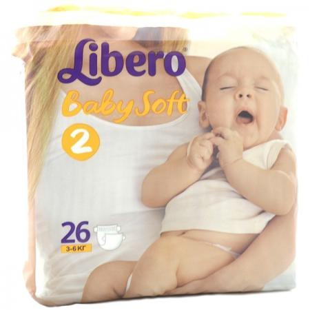 Подгузники Libero Baby Soft 2 (3-6 кг) 26 шт. одноразовые подгузники libero baby soft midi 4 9кг 70шт