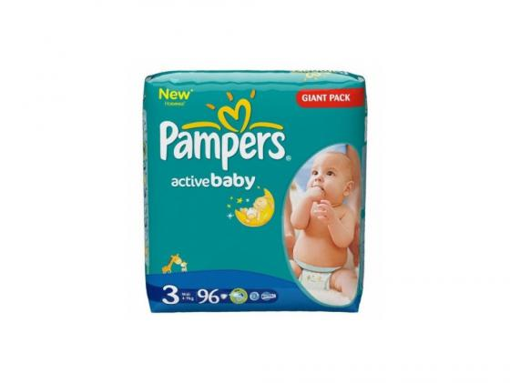 Подгузники Pampers Active Baby Midi (4-9 кг) Джайнт Упаковка 96 шт. pampers pampers active baby midi jumbo памперс актив бэби миди джамбо 3 5 9 кг 82шт