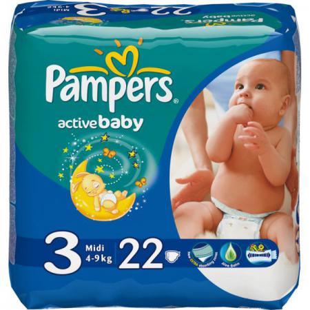 Подгузники Pampers Active Baby Midi (4-9 кг) Стандартная Упаковка 22 шт. pampers pampers active baby midi jumbo памперс актив бэби миди джамбо 3 5 9 кг 82шт