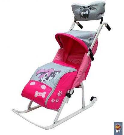 Фото Санки-коляска RT Комфорт Люкс 11 Любопытный щенок с колесиками и муфтой до 50 кг сталь розовый