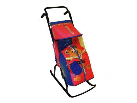 Санки-коляска RT Снегурочка 2-Р Медвежонок до 50 кг сталь синий красный rt санки коляска кенгуру 2