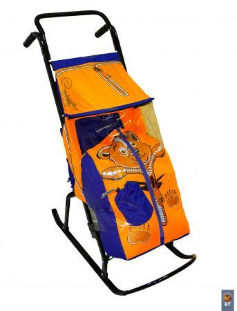 Санки-коляска Снегурочка 2-Р Медвежонок (синий-оранжевый) санки санки вятские 2