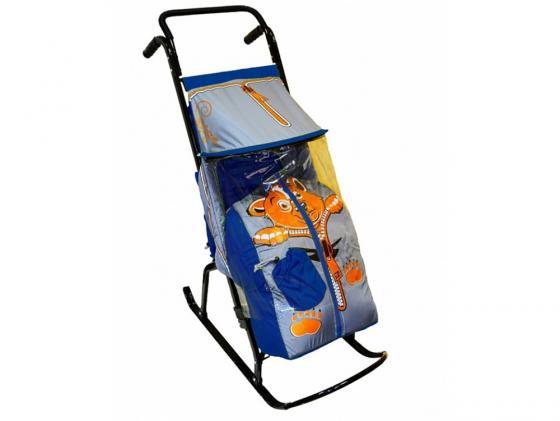 цена на Санки-коляска RT Снегурочка 2-Р Медвежонок до 50 кг сталь синий серый