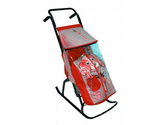 Купить со скидкой Санки-коляска RT Снегурочка 2-Р Собачка до 50 кг сталь серый красный