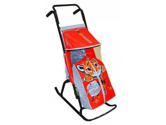 Санки-коляска RT Снегурочка 2-Р Тигренок до 50 кг сталь серый красный коляска indigo 17 38 светло серый красный 2 в 1