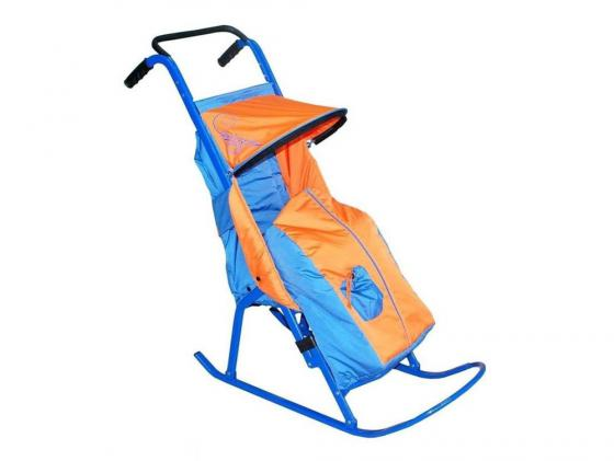Санки-коляска — Снегурочка 2-Р1Снежинки до 50 кг сталь голубой оранжевый недорого