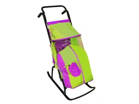 Санки-коляска RT Снегурочка 2-Р1 Снежинки до 50 кг сталь сиреневый салатовый россия ёлочная игрушка снегурочка морозные узоры