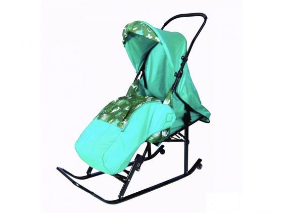 Купить со скидкой Санки-коляска RT Шустрик-Имго-6 на колесиках с горизонтальным положением спинки до 45 кг сталь бирюз
