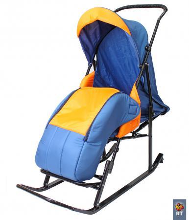 цена на Санки-коляска RT Шустрик-Имго-6 на колесиках с горизонтальным положением спинки до 45 кг сталь синий оранжевый
