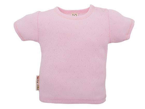 Футболка Lucky child Ажур Розовая, разм. 20 (62-68 см.) футболка для мальчика lucky child цвет экрю 6 26мк размер 62 68 2 3 месяца