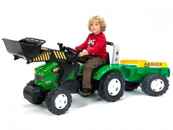 Трактор-экскаватор Falk педальный с прицепом зеленый 225 см трактор tomy john deere зеленый 19 см с большими колесами звук свет