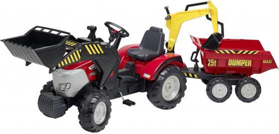 Трактор-экскаватор педальный Falk С прицепом и ковшом, красный 225 см. трактор с прицепом св ход 36см dickie