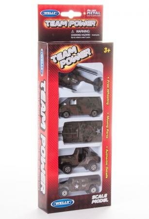 Игровой набор Welly Военно-полицейская команда 5 шт 11 см камуфляж 97506G(C) welly welly набор служба спасения пожарная команда 4 штуки