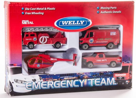 Набор Welly Служба спасения - пожарная команда 4 шт красный 98630-4C