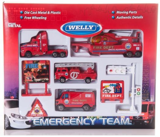 Набор Welly Служба спасения - пожарная команда 9 шт 98630-9C welly служба спасения пожарная команда 9 шт 98630 9c