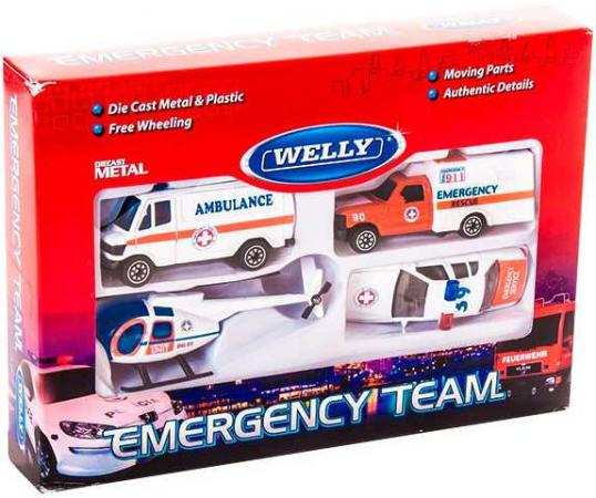 Набор Welly Служба спасения - скорая помощь 4 шт 98630-4B welly welly набор машинок служба спасения полиция 4 штуки