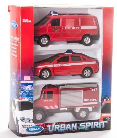 Игровой набор Welly Пожарная служба 3 шт красный 99610-3C