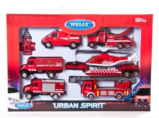 Игровой набор Welly Пожарная служба 6 шт красный 99610-6B городской транспорт welly набор машинок welly пожарная служба 11 см 3 шт