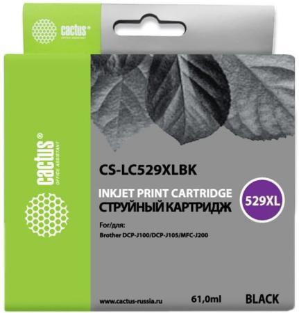 Картридж Cactus LC-529XLBK для Brother DCP-J100/J105/J200 черный картридж brother lc 525xlc cyan для dcpj100 105 mfcj200 1300стр