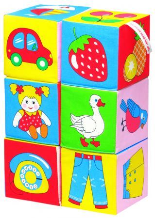 Кубики МЯКИШИ 001 Предметы 6 шт 1toy 1toy обучающие кубики кубики с животными