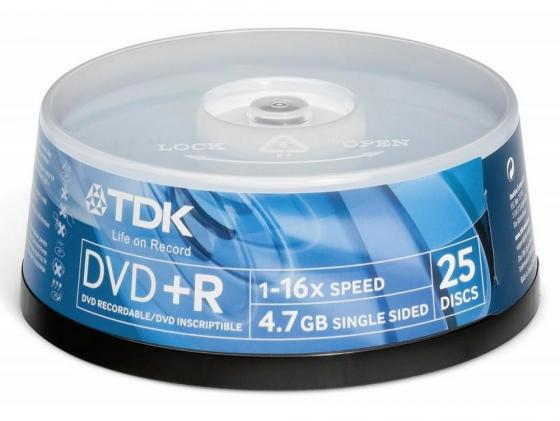 Диски DVD+R TDK 4.7Gb 16x CakeBox 25шт 19443 dvd r tdk 4 7gb 16x slim
