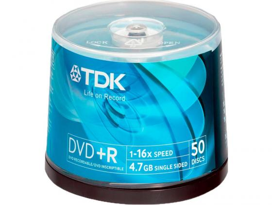 Диски DVD+R TDK 4.7Gb 16x CakeBox 50шт 19444 dvd r tdk 4 7gb 16x slim