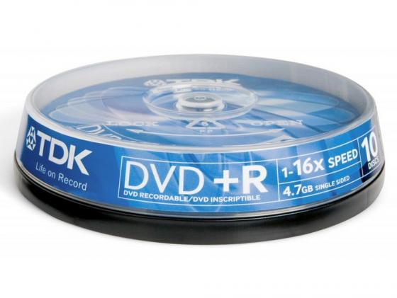 Диски DVD+R TDK 4.7Gb 16x CakeBox 10шт 19442 dvd r vs 4 7gb 16х 10шт cake box