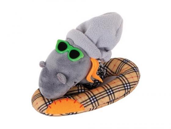 Мягкая игрушка змейка Gulliver Змей Модник 20 см оранжевый серый ткань синтепон