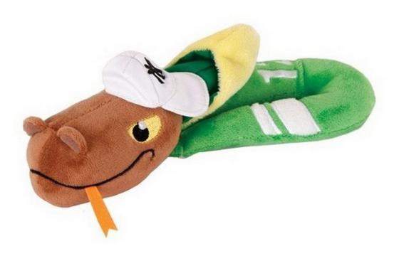 Мягкая игрушка змейка Gulliver (Гулливер) Змей Рэпер 23 см зеленый коричневый желтый плюш синтепон