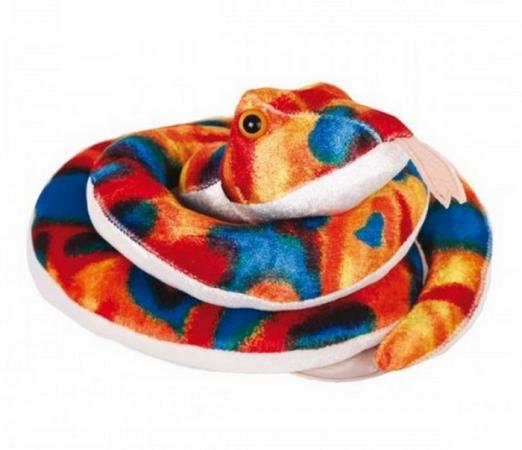 Мягкая игрушка змейка Gulliver Змейка Пеструшка 27 см синий красный оранжевый белый плюш синтепон джинсы gulliver размер 146 синий