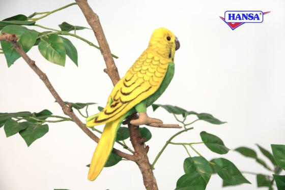 Мягкая игрушка попугай Hansa Волнистый 15 см зеленый текстиль 3653П